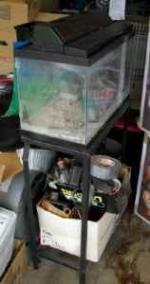 (1) 10 gallon aquarium on a stand made for 2 - $12 (LORDSTOWN)