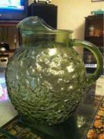 Ceramic dining center piece, 1970's glass pitcher, custom fruit bowl - $5 (Lakewood)