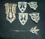 COSTUME JEWERLY VINTAGE BROACHES EARRINGS & RUBYS-STONES 1940s 50s - $70 (ARVADA)