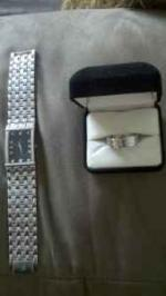 Mens Bulova watch and Mens 6 Diamond Ring NICE!! - $1