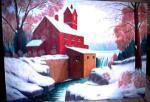 (Original) Beautiful Painting - Old Mill & Dam in Winter - $75 (Shilliington)